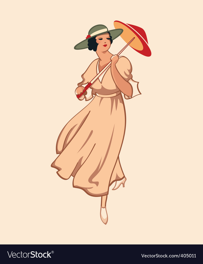 Retro girl vector image