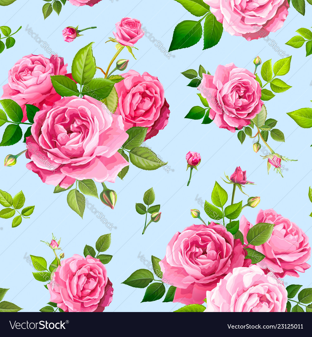 Seamless Pattern With Rose Flowers Royalty Free Vector Image