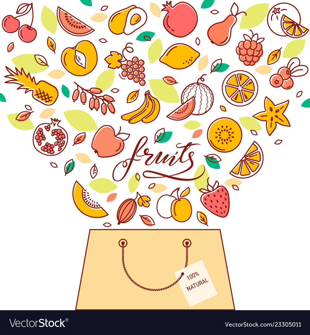Shopping basket with fruit in the