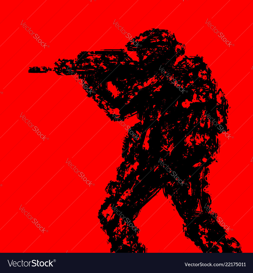 Silhouette of soldier aiming from machine gun