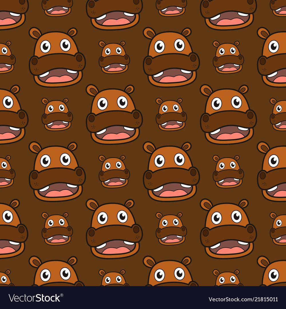 Smile hippo seamless pattern
