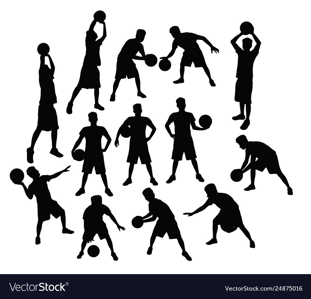 Basketball sport activity silhouettes