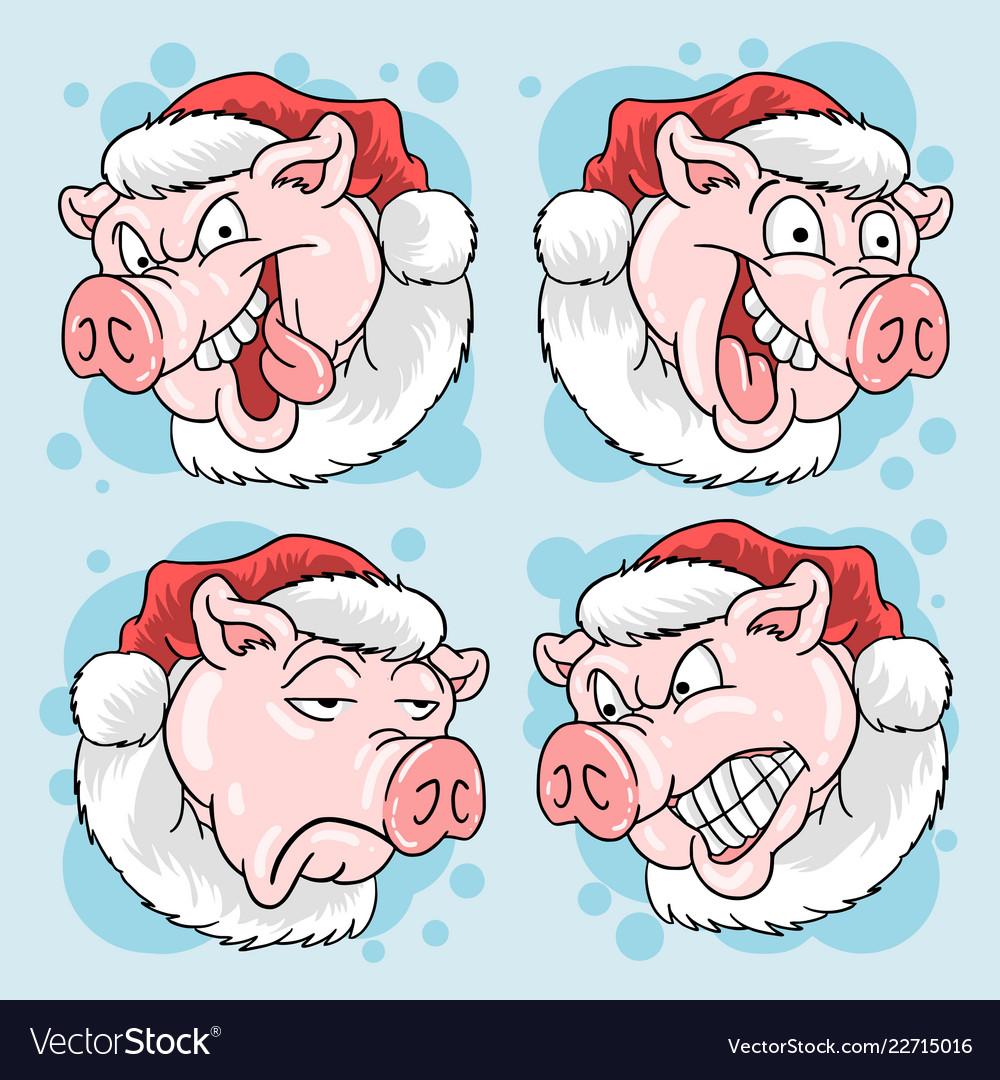 Christmas santa claus pig head pork 4 expression