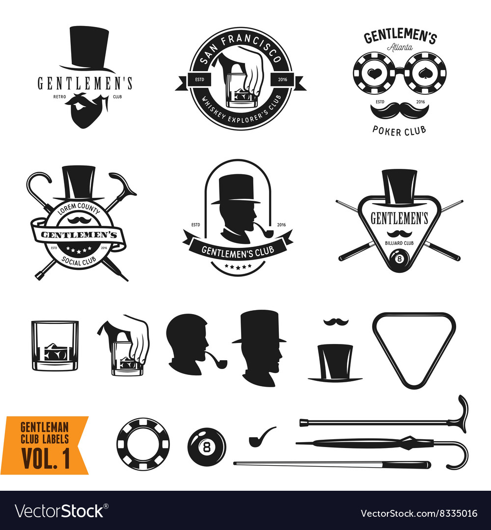 Collection of vintage gentleman emblems labels vector image