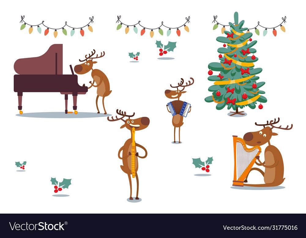 Deers character musical band at holidays
