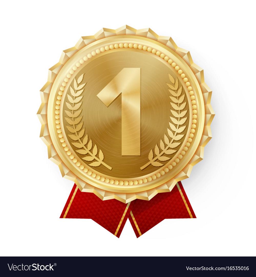 gold medal golden 1st place badge sport royalty free vector