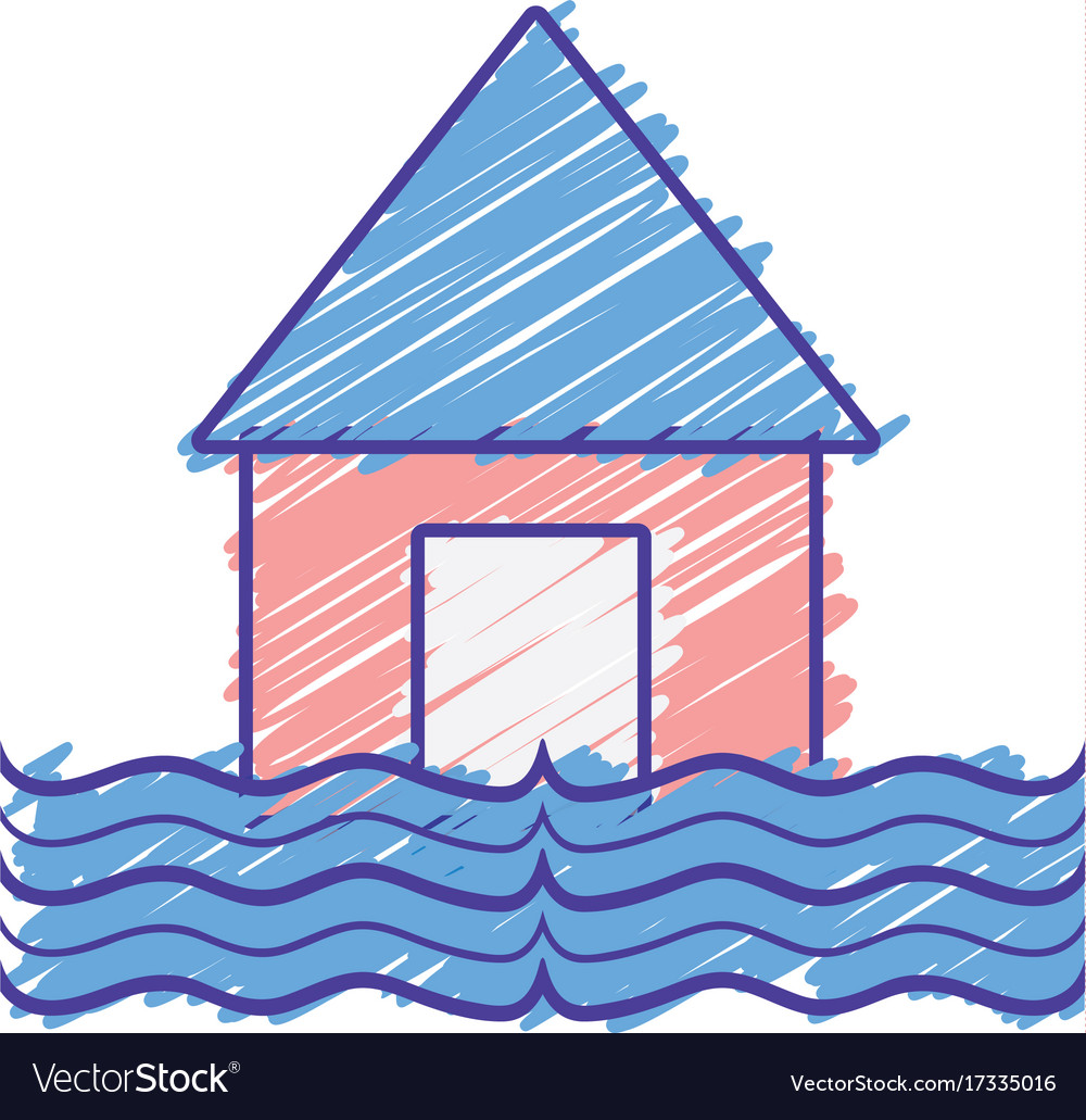 House flood to the water disaster weather