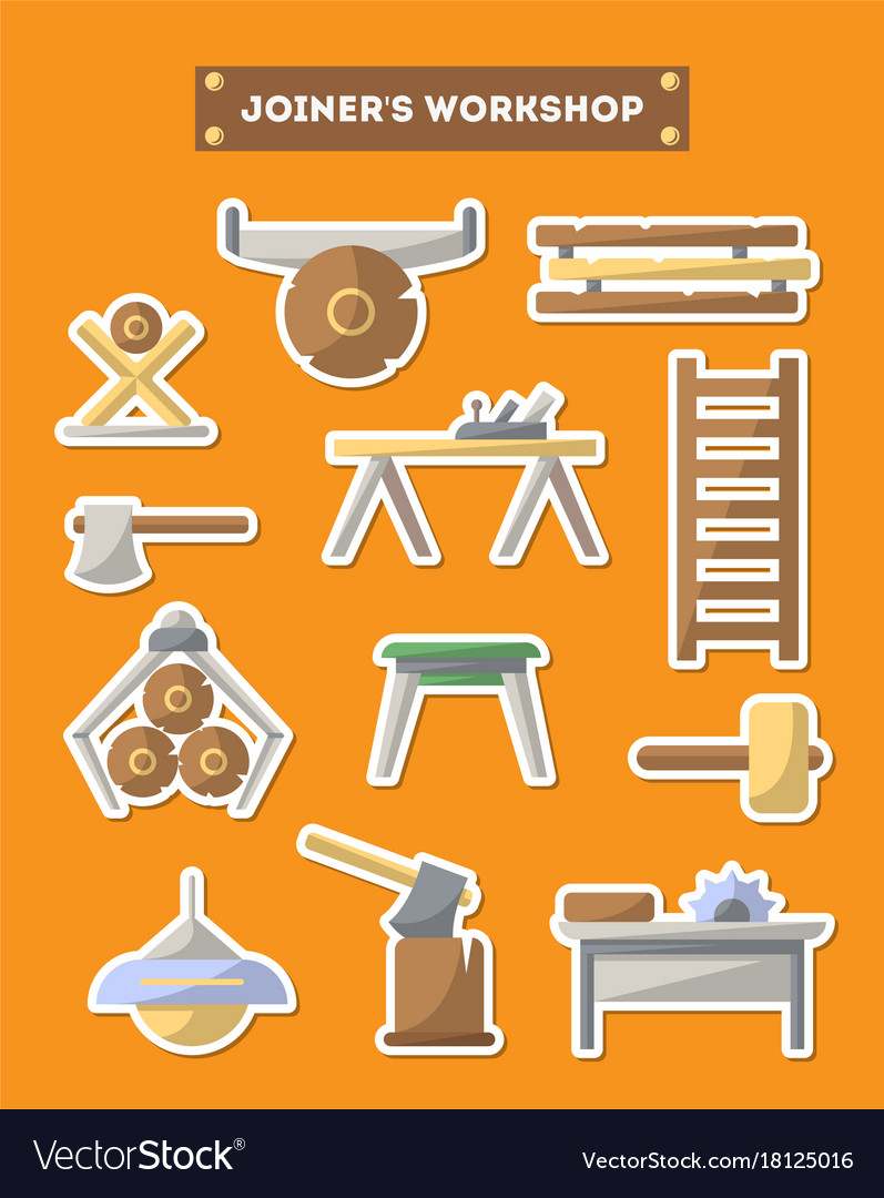 Joinery workshop furniture icon set in flat style