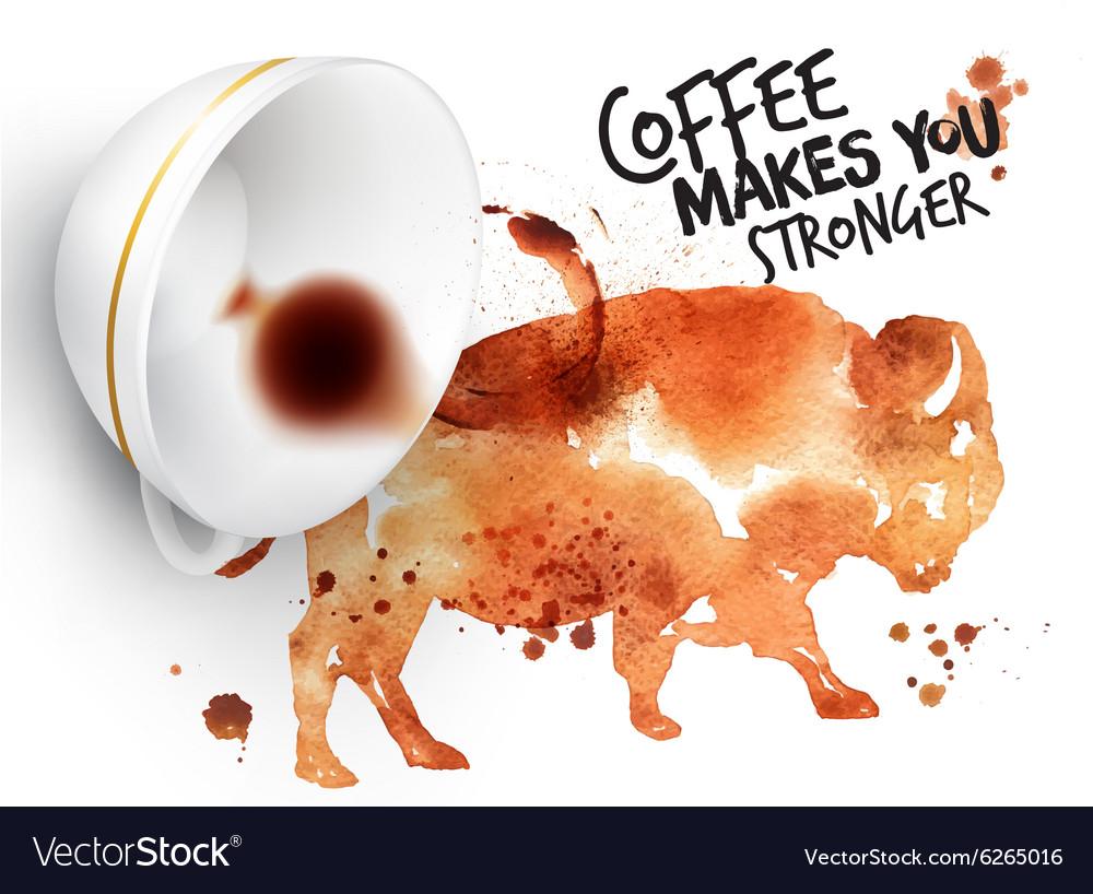 Poster wild coffee buffalo vector image