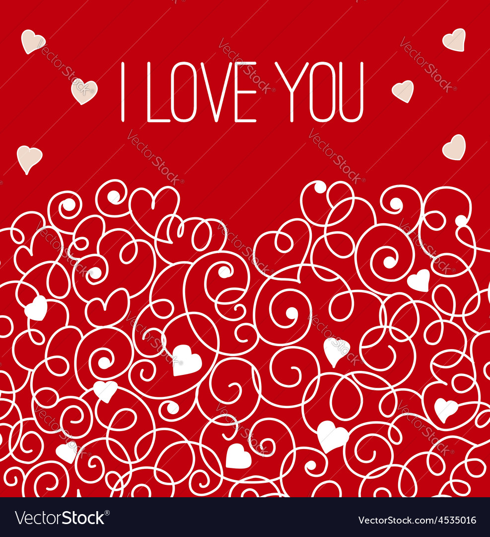 Red greeting card with floral heart shape I love
