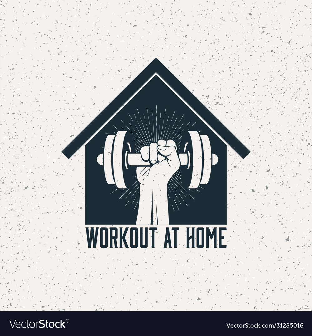 Strong raised arm with dumbbell in house