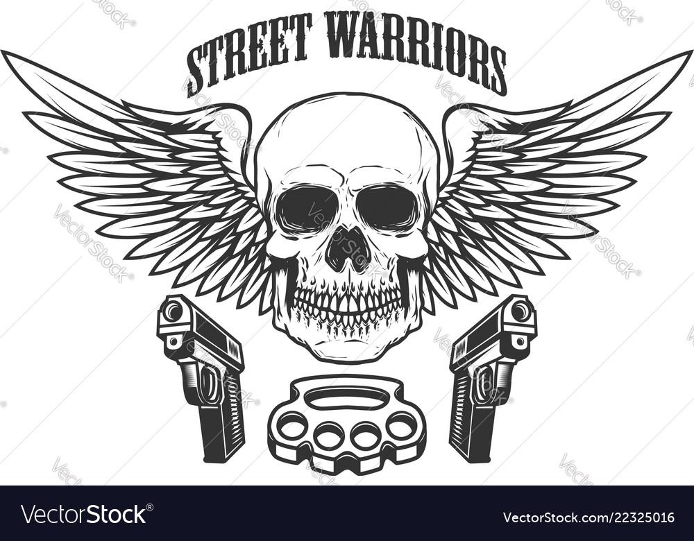 Winged skull with handguns design element for