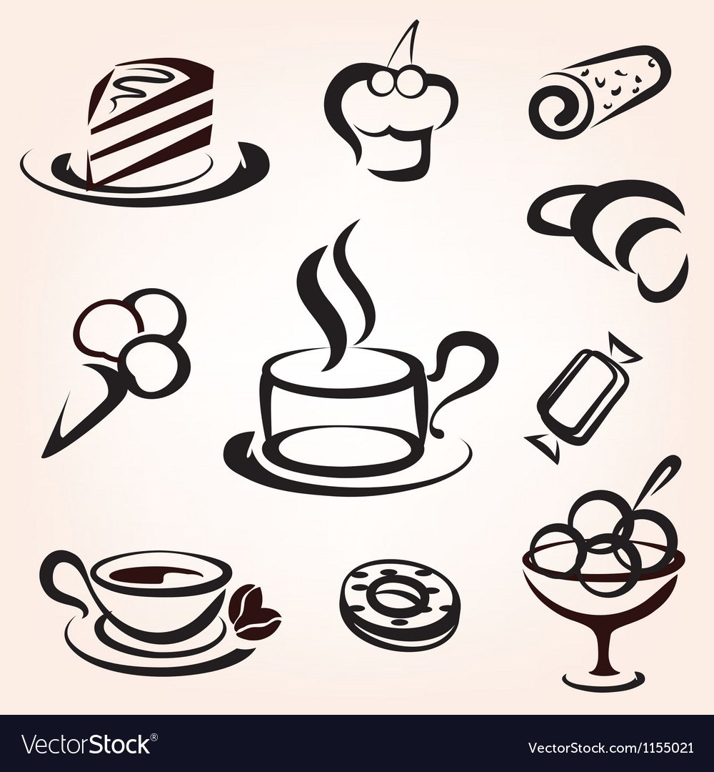 Caffe bakery and other sweet pastry icons set