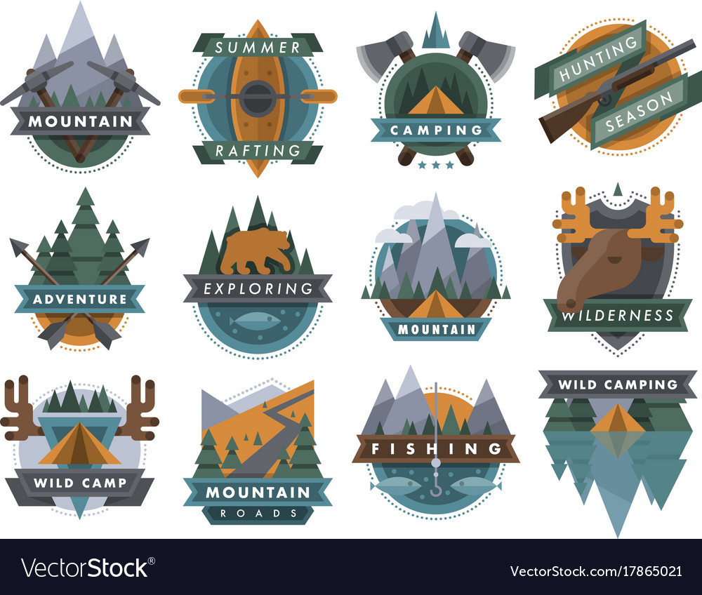Camping outdoor tourist travel logo scout badges
