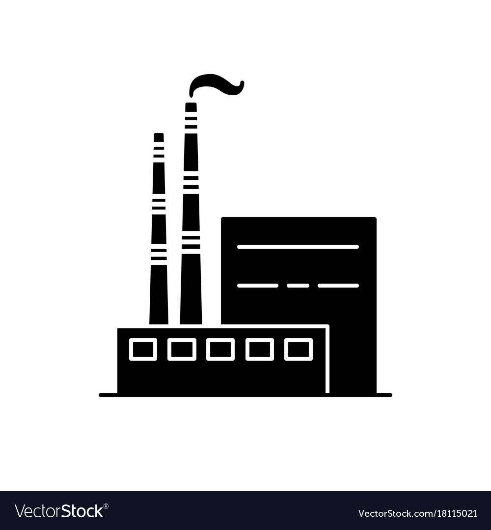Coal Power Plant Silhouette Icon In Flat Style Vector Image