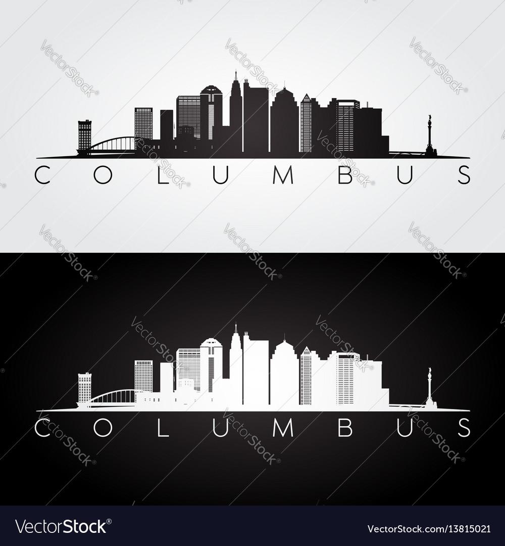 Columbus skyline and landmarks silhouette