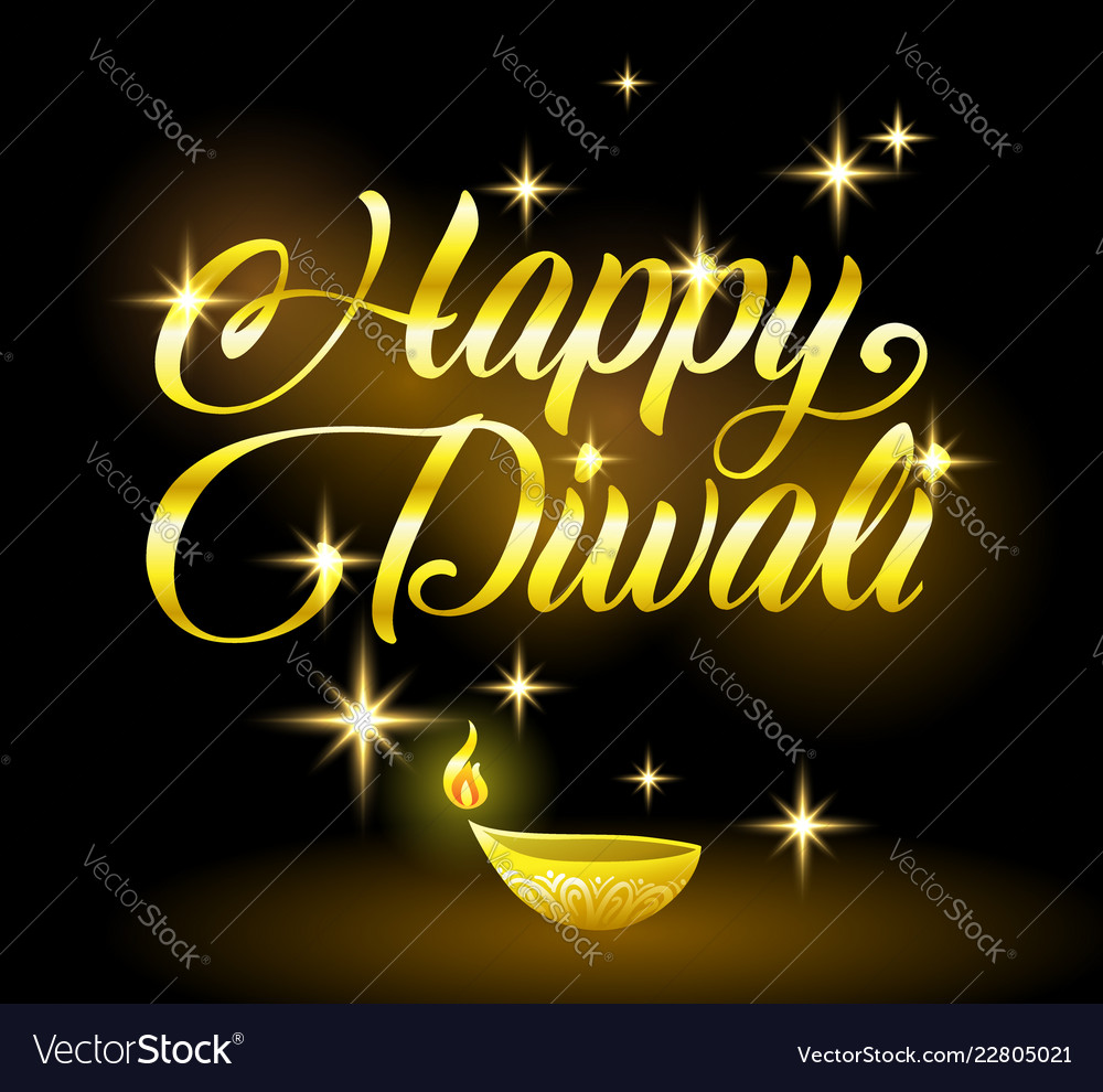 Golden happy diwali congratulation with stars on