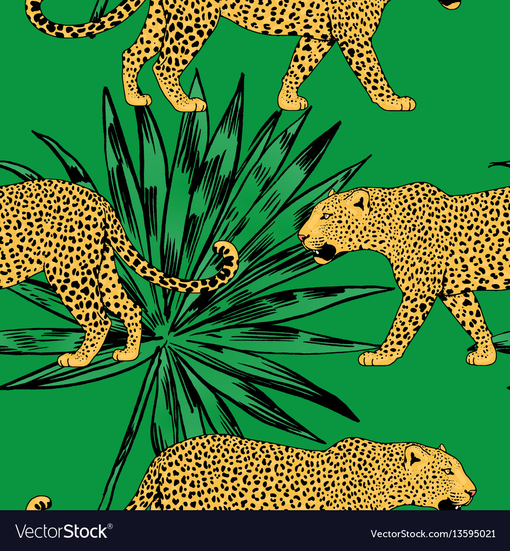Leopards in colorful tropical flowers vector image