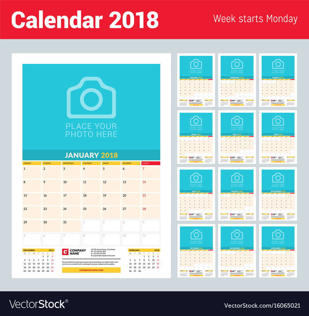 monthly calendar planner template for 2018 year vector image