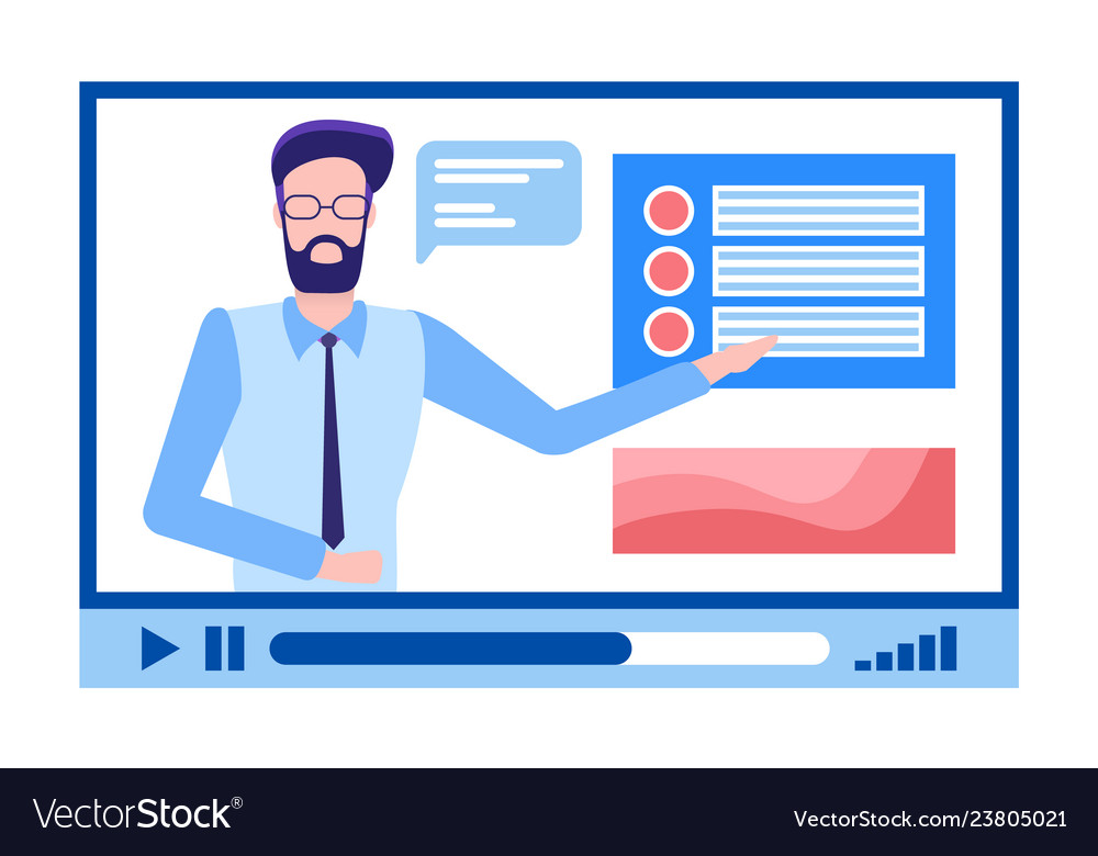 Online courses male in glasses beard explaining