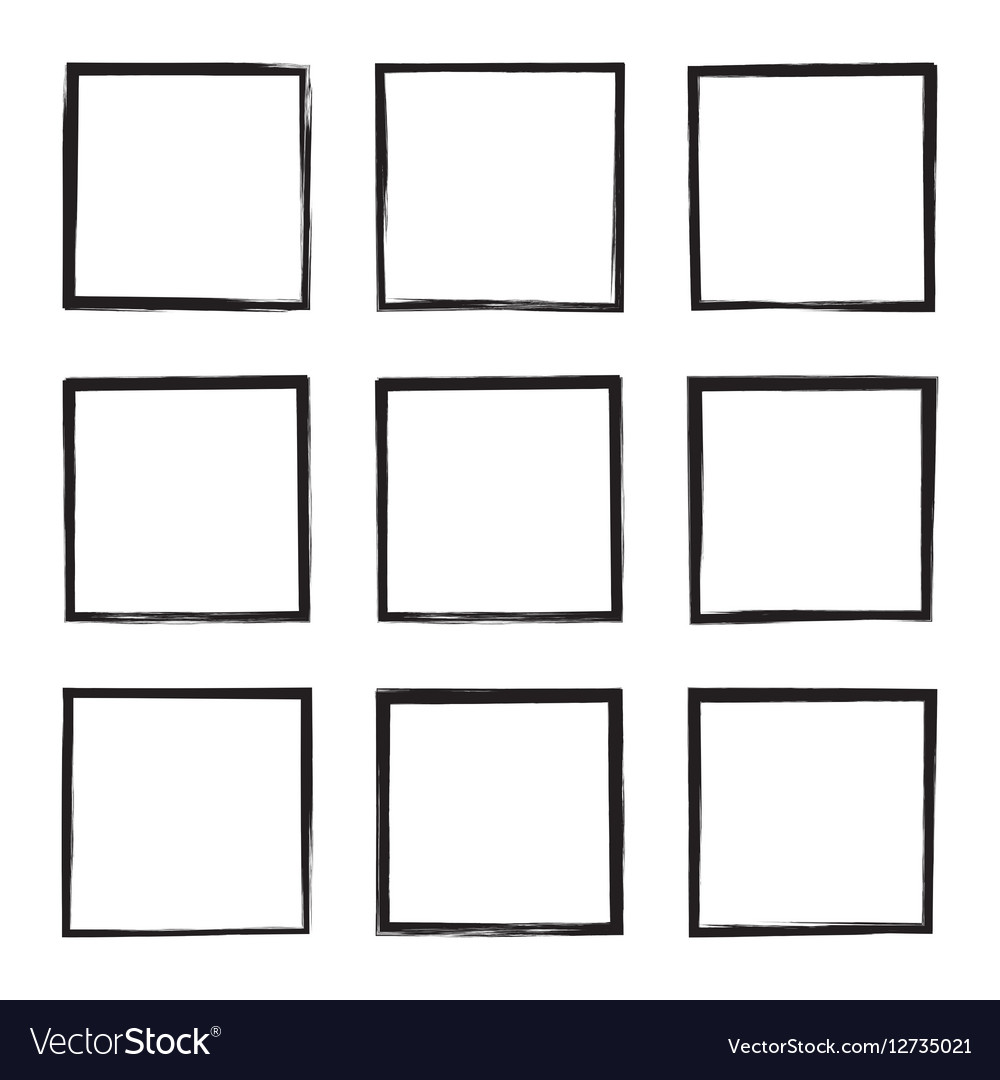 Set hand drawn square vector image
