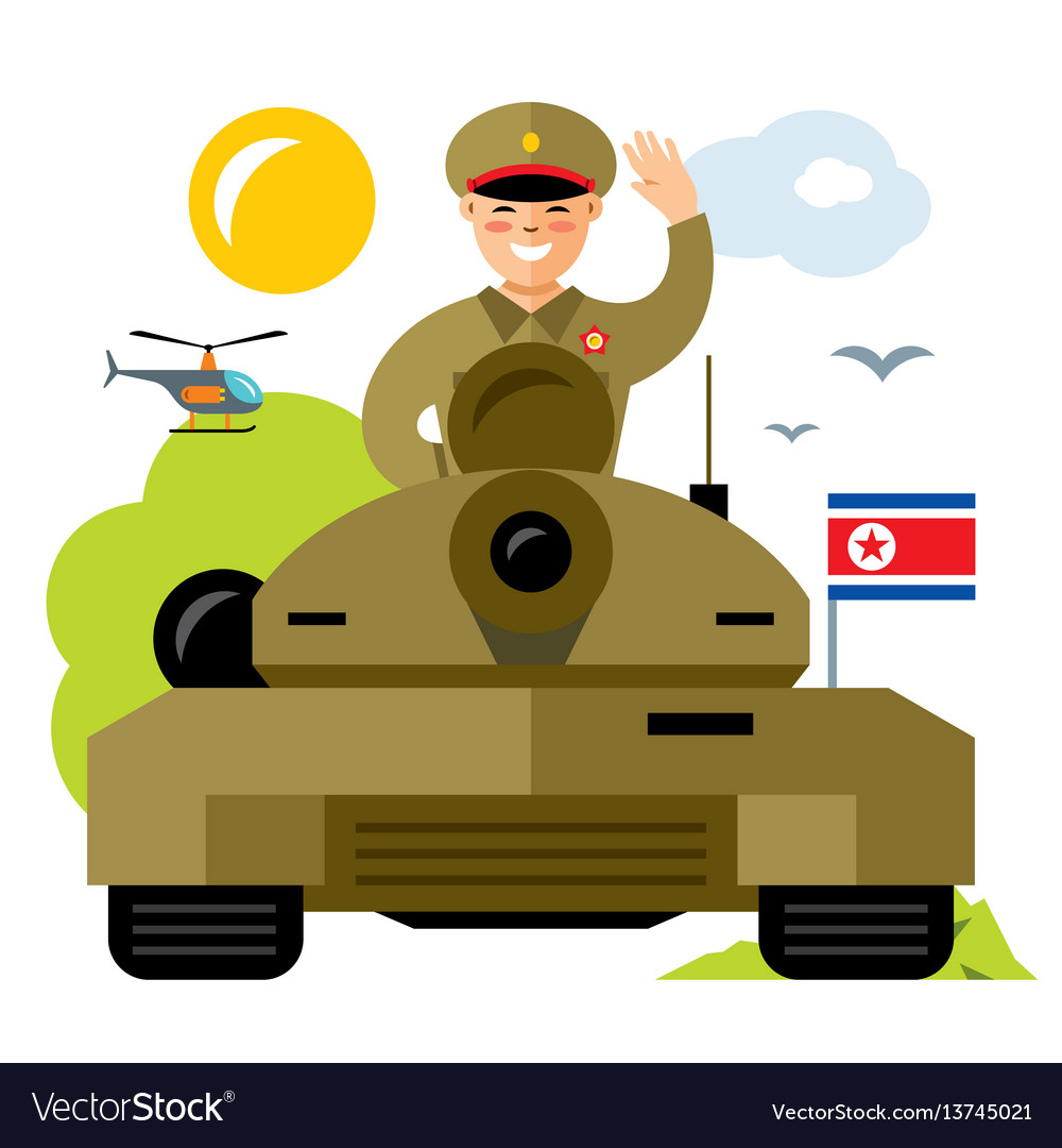 Tankman north korea flat style colorful