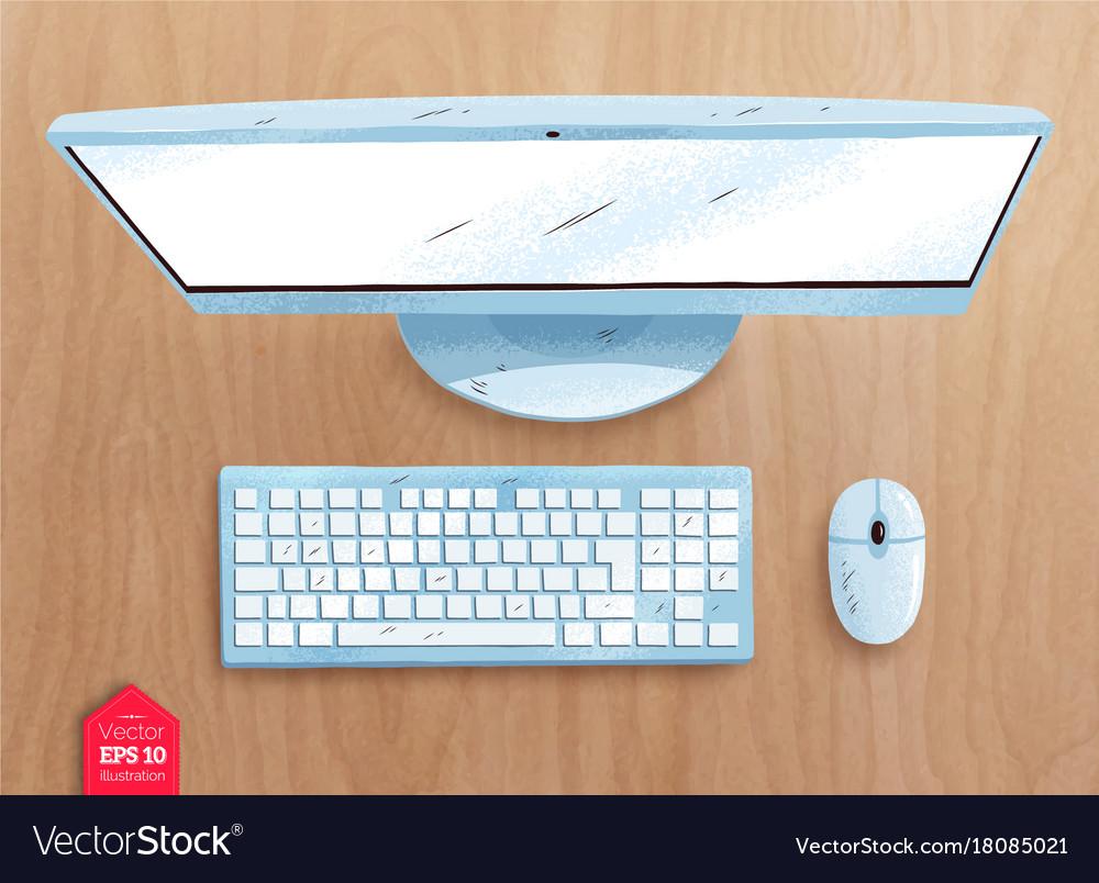 Top View Of Desktop Computer