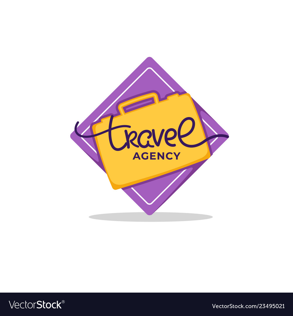 Travel agency lettering logo with yellow suitcase