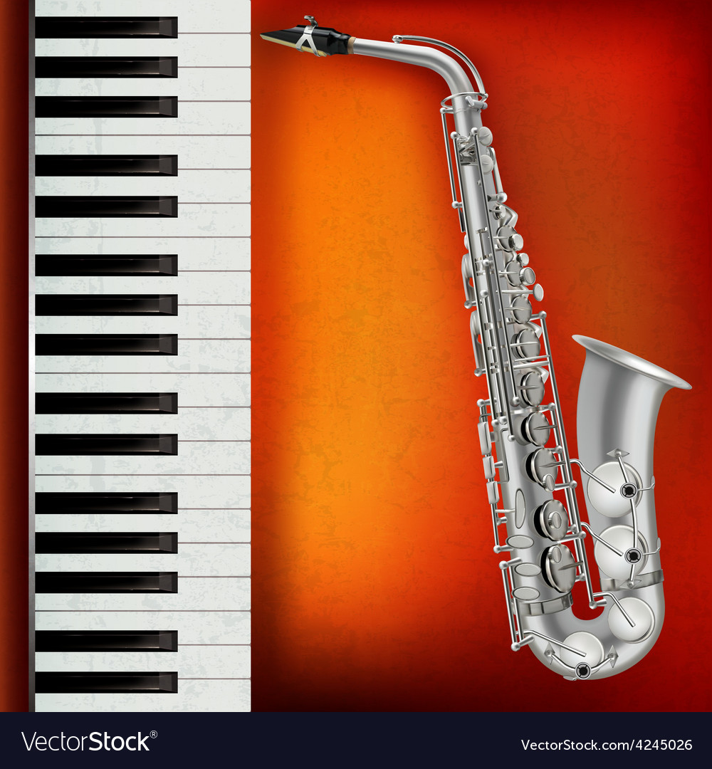 Abstract grunge red background with saxophone and vector image