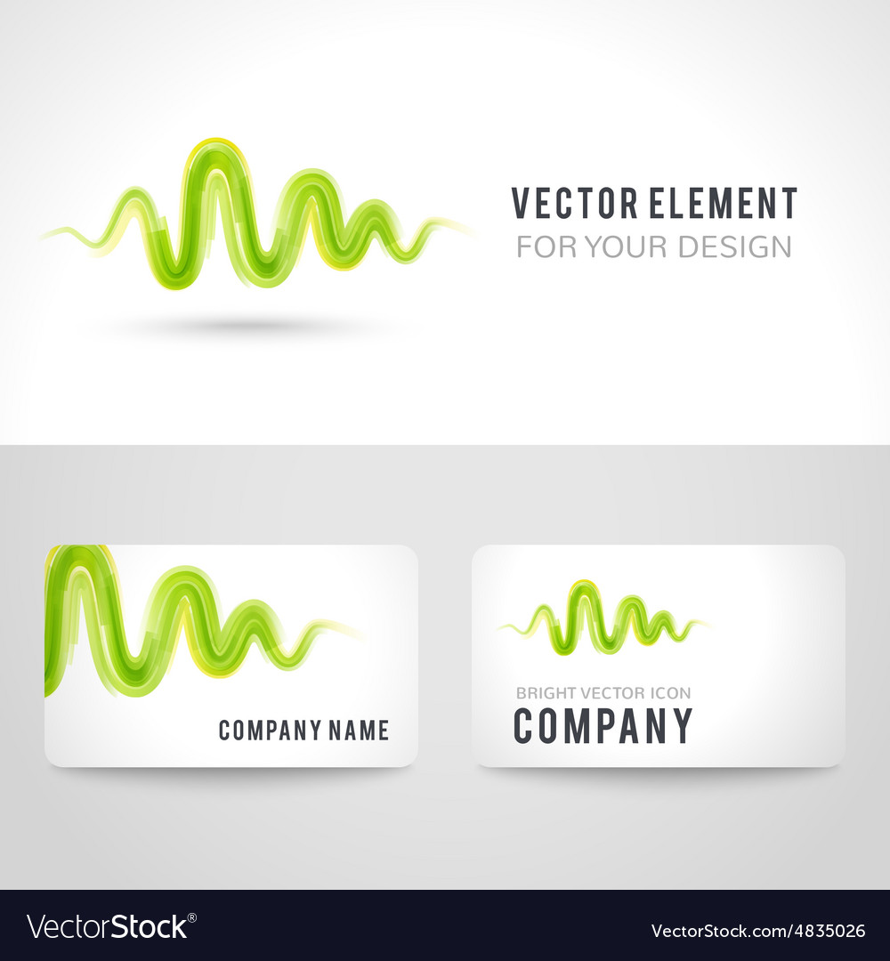 Business card template set abstract green wave