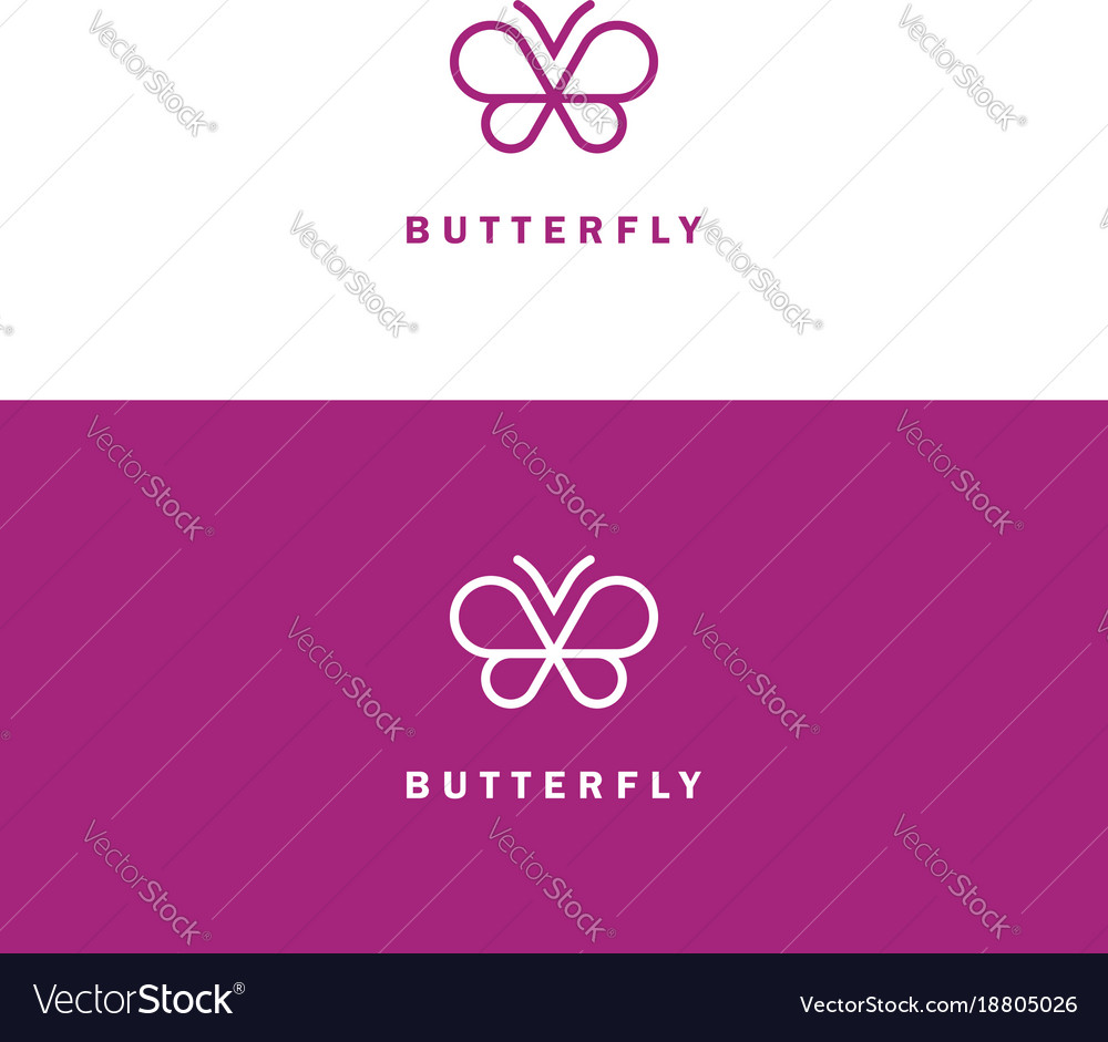 Butterfly mono line logo