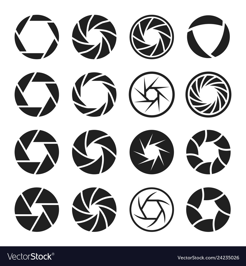 Camera shutter icon set photo and video equipment