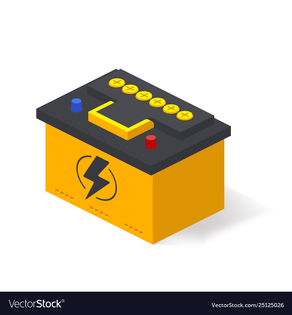 car battery isolated on white background battery vector image vectorstock