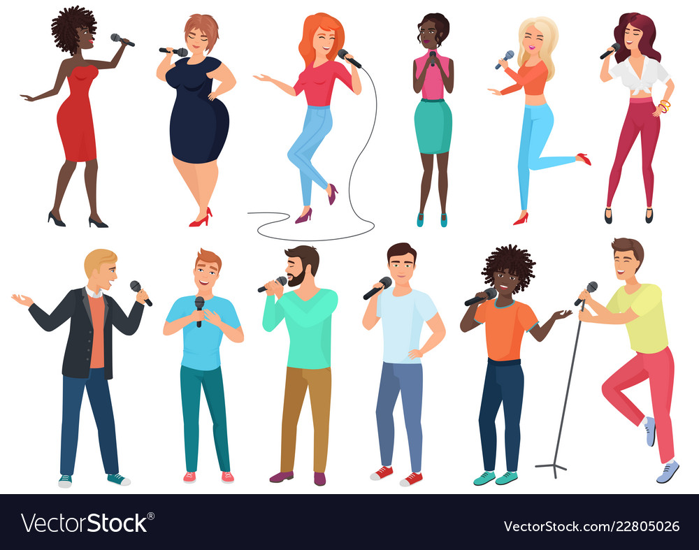 Cartoon singers with microphones and