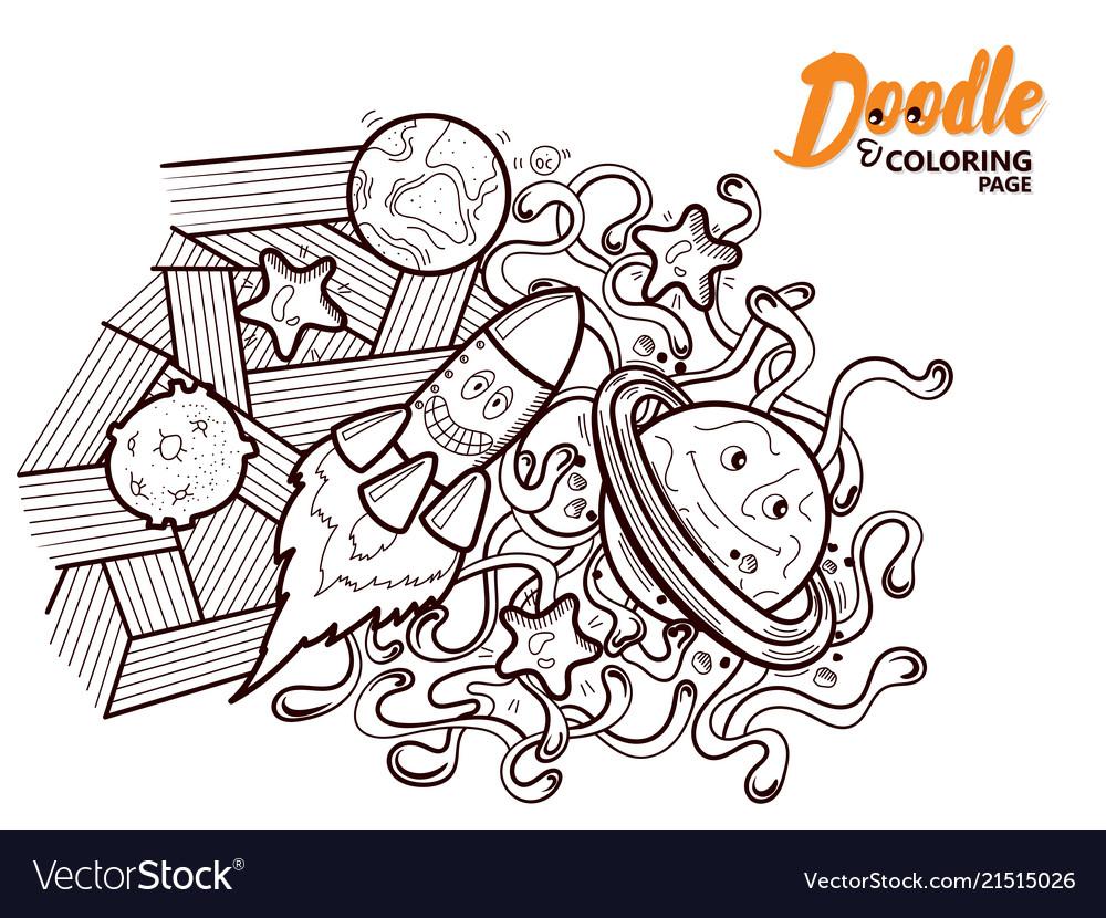 Coloring book doodle funny cosmos Royalty Free Vector Image