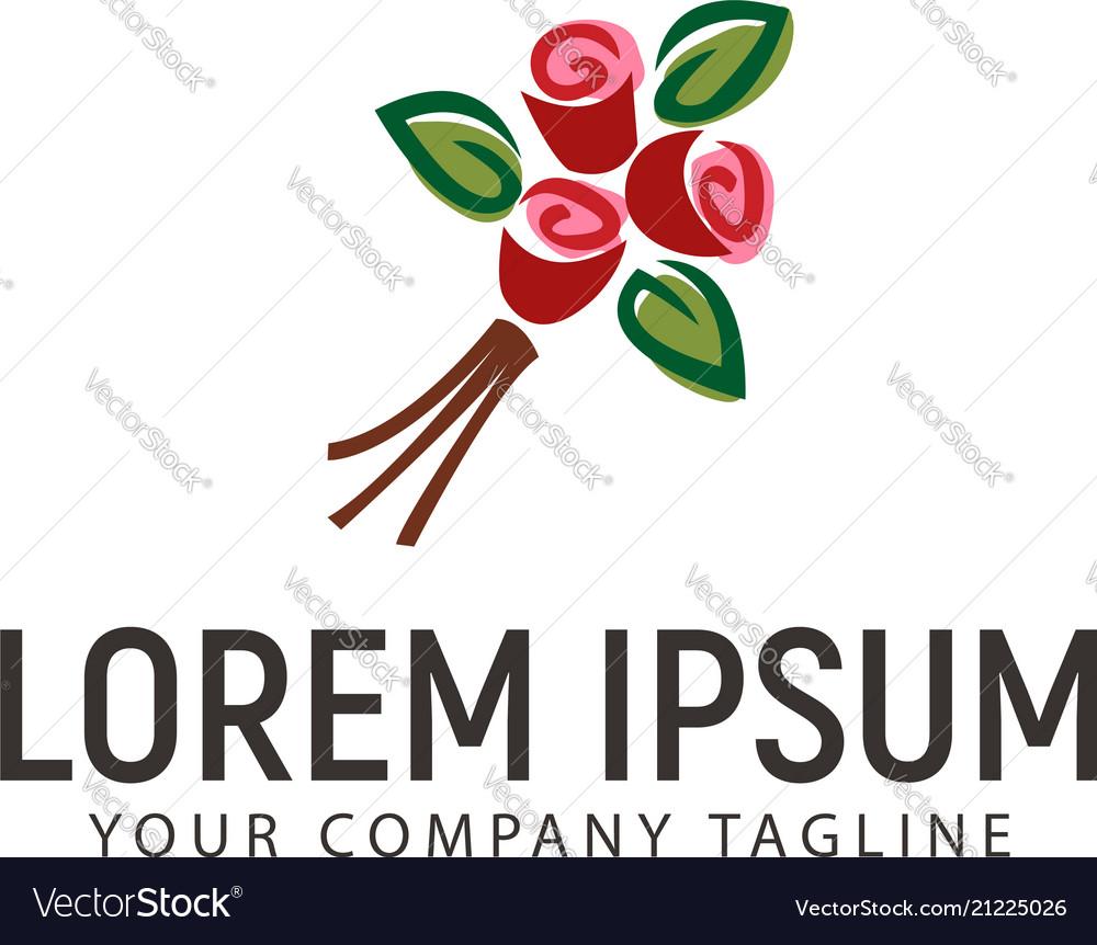 Hand drawn flower logo wedding design concept