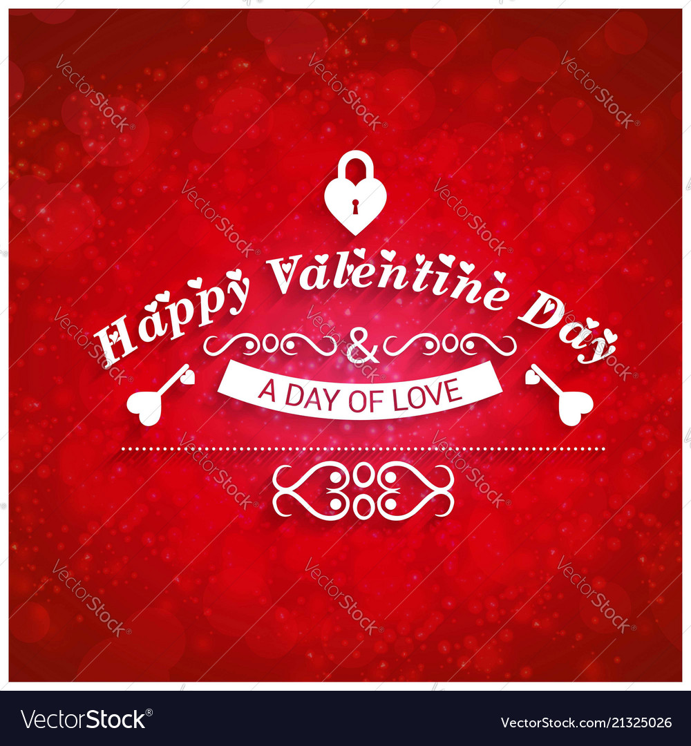 Happy Valentines Day Greetings Card With Red Vector Image