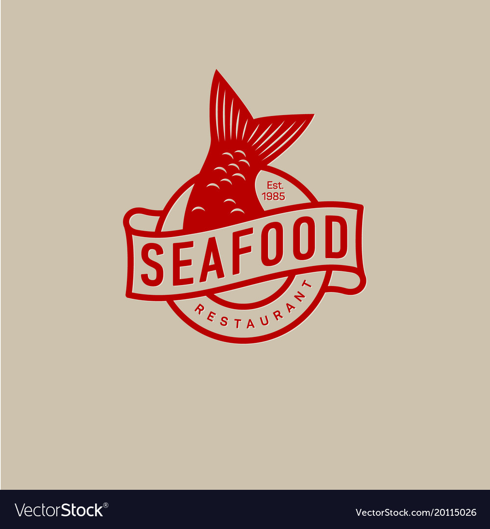 Logo Seafood Restaurant Fish Tail Royalty Free Vector Image