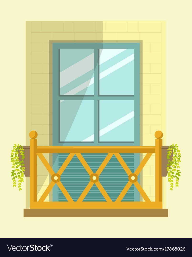 european style windows rustic house nice tall broad windows in european style vector image