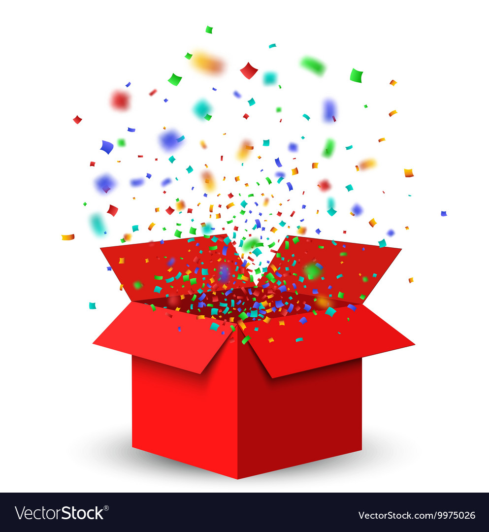 Open red gift box and confetti Royalty Free Vector Image