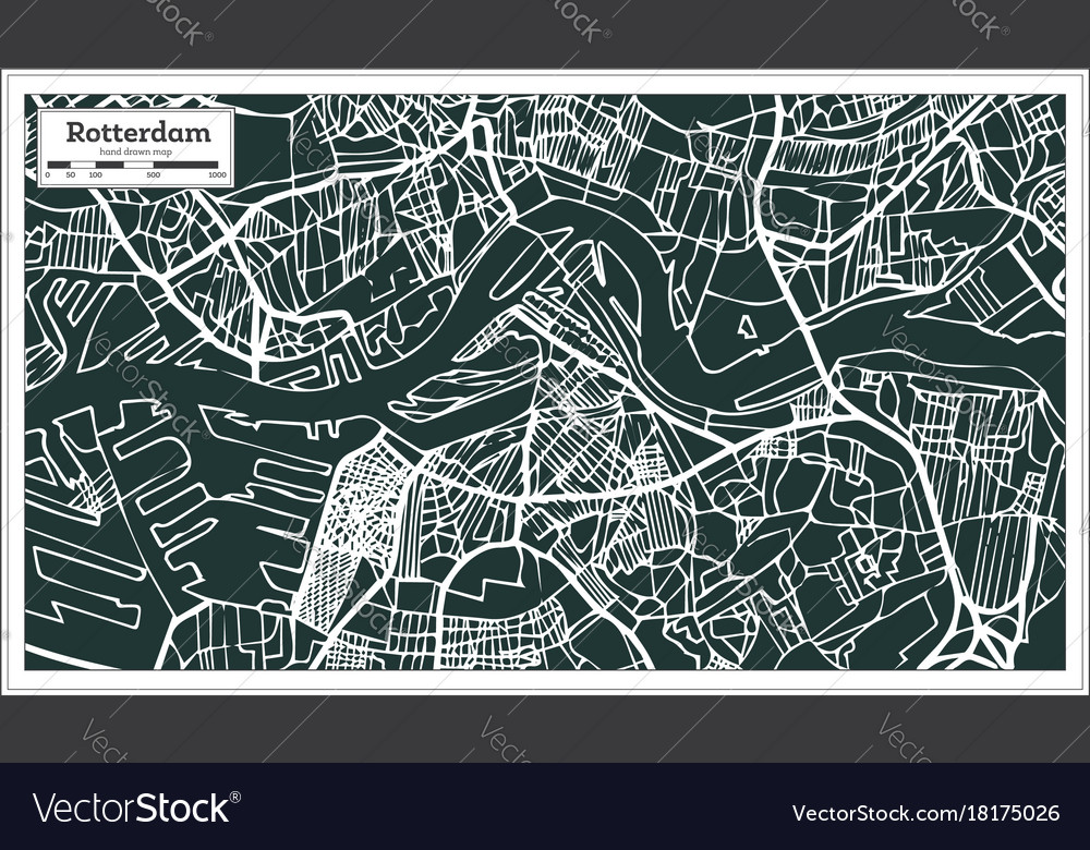 Rotterdam map in retro style hand drawn Royalty Free Vector