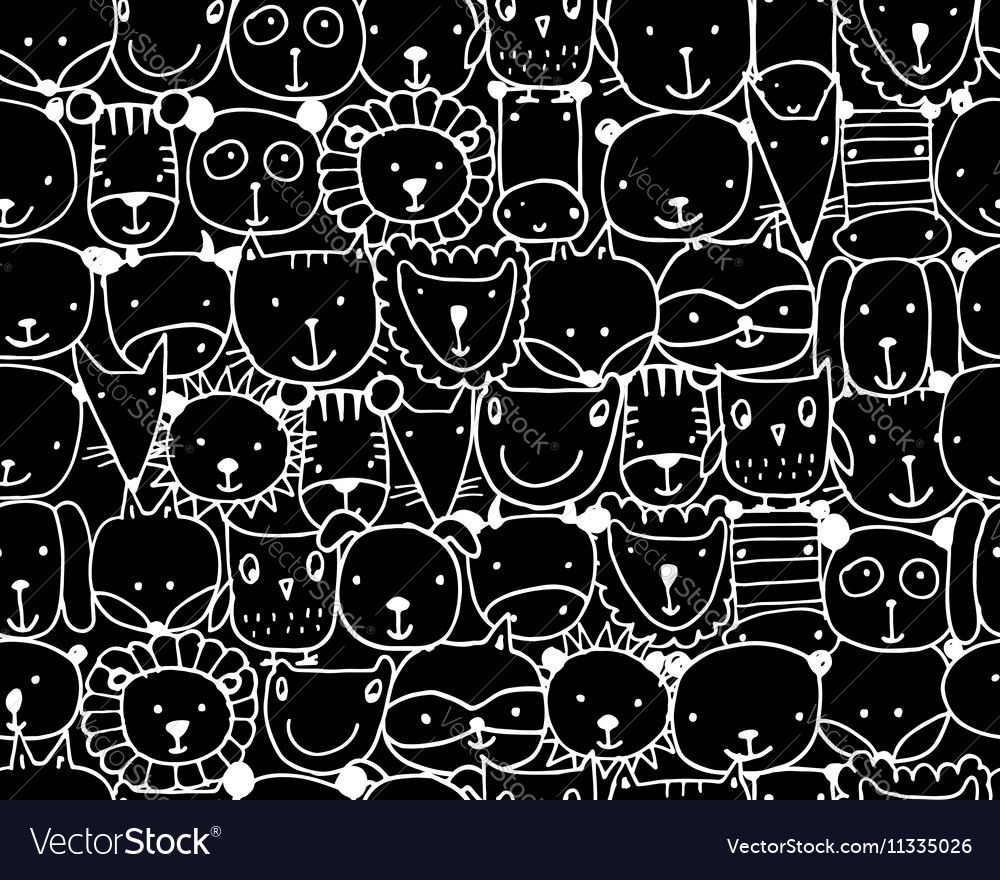 Set of animal faces sketch for your design
