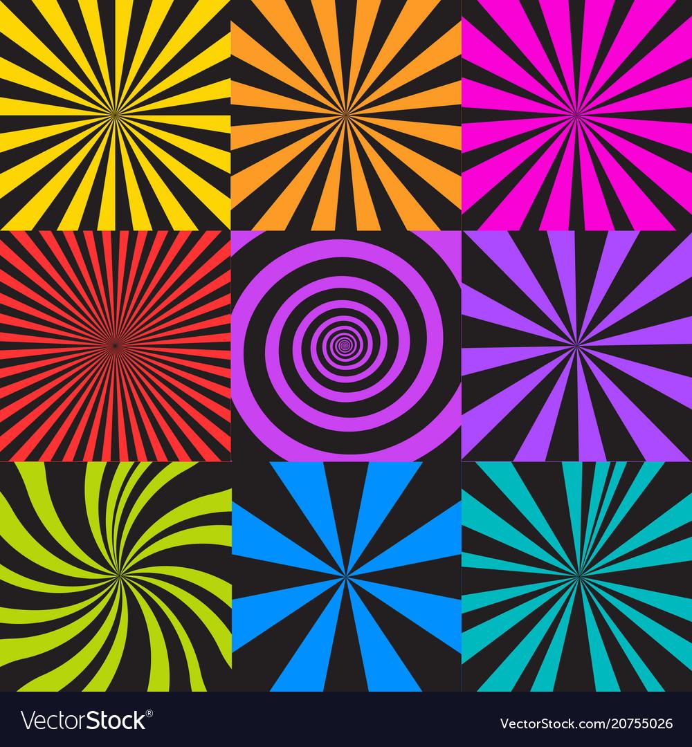 Set of sunburst and spiral backgrounds