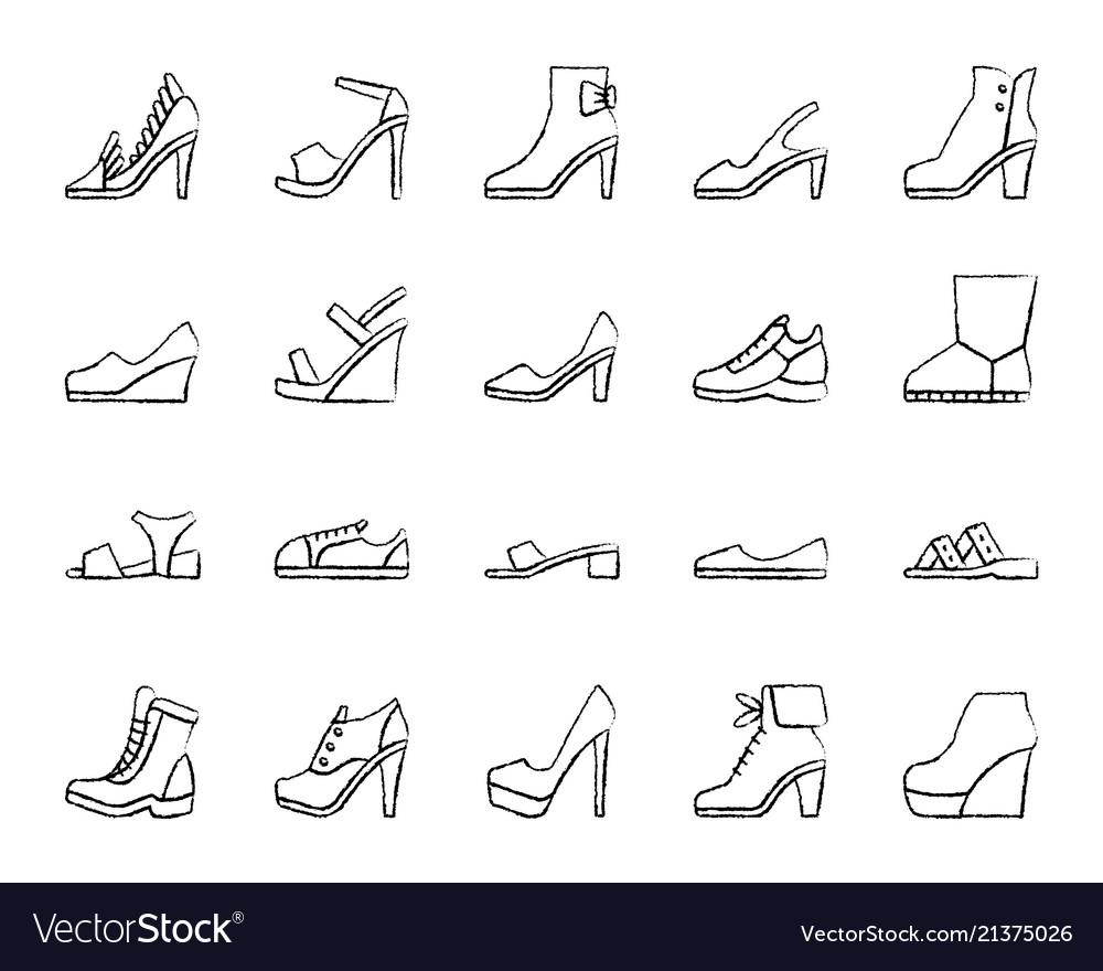 Shoes simple black line icons set