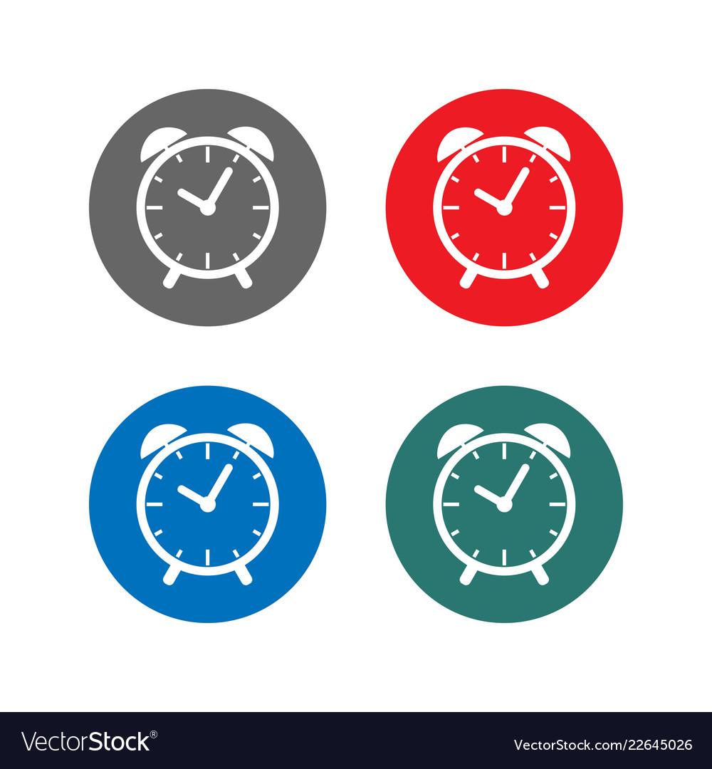 Time sign alarm clock icon set