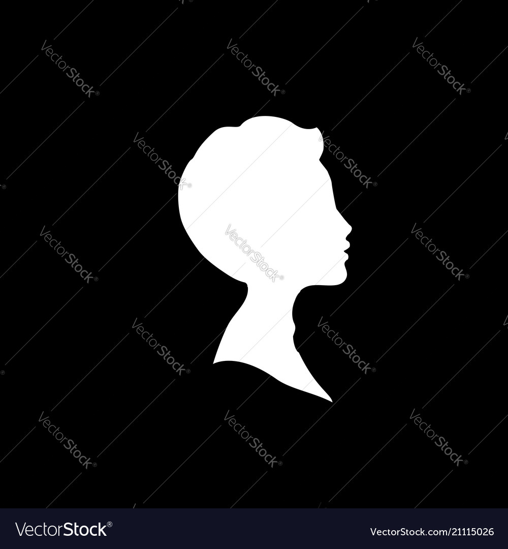 White profile silhouette of young boy or man head