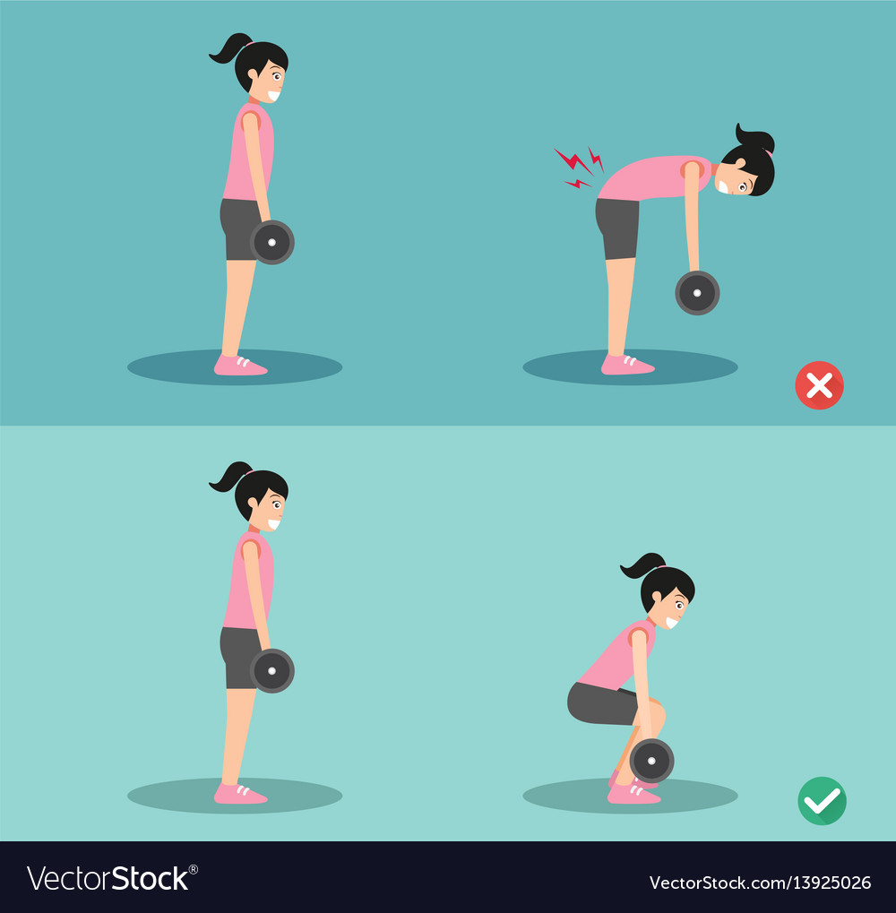 Woman wrong and right deadlift posture vector image