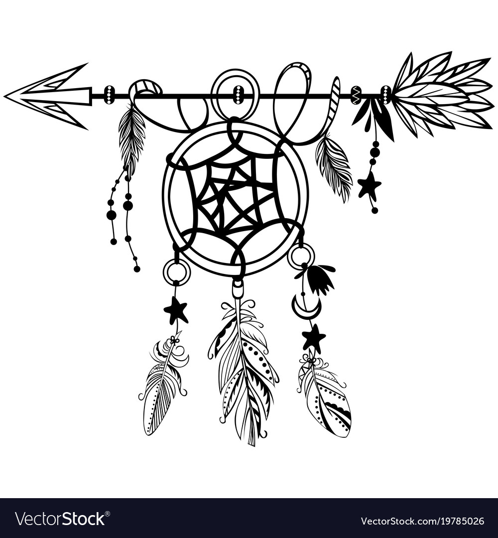 wooden arrow with dreamcatcher royalty free vector image rh vectorstock com dreamcatcher victor idaho eclipse dream catcher vector eps