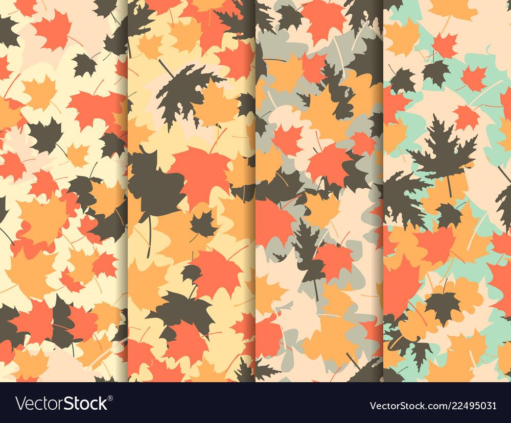 Autumn leaves set of seamless patterns oak leaves
