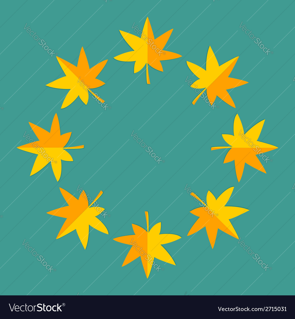 Autumn yellow maple leaf frame Empty template